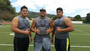 From left to right, Nate Herbig, Sean Auwae and Michael Eletise were among the high-profile prospects at the recent Blue-Grey Regional Combine in Hawaii.