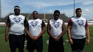 From left to right, Anthonie Thomas, Israel Allen, Adrian Harris and Nate Thompson were among the many prospects who did well at the recent Blue-Grey Regional Combine in Texas.