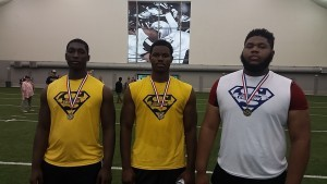 From left to right, Charly Timrite, Tymir Oliver and Johncarlo Valentin were among the more high-profile national recruits at the recent Blue-Grey Regional Combine on the East Coast.