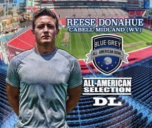 West Virginia commit Reese Donahue will be among the nation's more high-profile prospects playing in the Blue-Grey All-American Bowl on Jan. 9 at Tampa Bay Buccaneers' Raymond James Stadium.