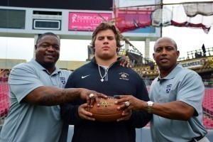 Stanford commit Bo Peek (middle) was acknowledged by NFL veterans Chuck Darby (left and Ken Stills (right) during the recent Blue-Grey Jersey Presentation Tour.