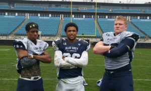 Notre Dame commits Troy Pride (left), Julian Love (middle) and Parker Boudreaux (right) were among the nation's more high-profile prospects at the Blue-Grey All-American Bowl at Jacksonville Jaguars' EverBank Field.