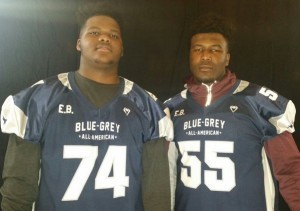 Blue-Grey All-American Bowl alumni LSU commit Donavuaghn Campbell (left) and Mississippi State commit Emmit Gooden (right) were among the country's high-profile prospects in the national spotlight on National Signing Day.